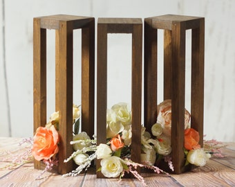 3 Rustic Wood Candle Lanterns, Wedding Lantern Centerpiece, Summer Backyard Wedding, Seaside Beach Ocean Wedding, Outdoor Garden Tropical