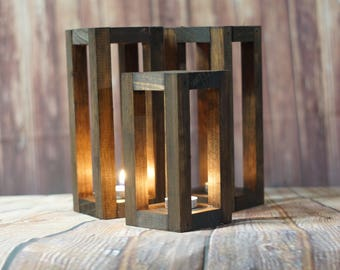 Set of Lanterns, Fall Autumn Wedding Centerpiece, Rustic Natural Woodland Wedding, Bohemian Boho Chic, Modern Industrial Reclaimed Wood