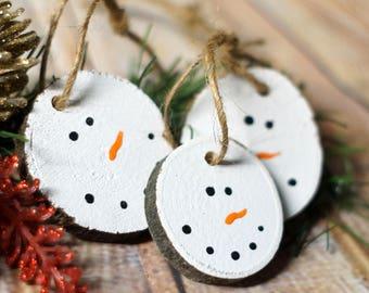 Snowman Ornaments, Christmas Ornament Set, Rustic Christmas, Christmas Decor, Rustic Ornament, Xmas Ornament, Wood Slice, Log Slice, Painted