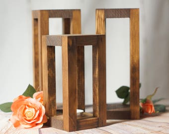 3 Rustic Wood Candle LanternS