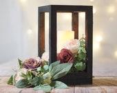 Wood lantern, wedding set, wedding centerpiece, table decor, home decor, lantern centerpiece, rustic wedding Country Barn wedding Gift black