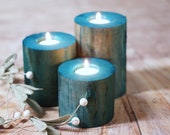 Wood candle Holders, Beach Decor, Coastal Decorations, Rustic Nautical Seaside, Bathroom Table, Living Room Mantle, Southern Cottage Blue