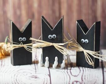 Mini Primitive Black Cat -Halloween Decor - Halloween Decorations - Haunted House Decor - Halloween Porch -  Wood Cats - Rustic Black Cat