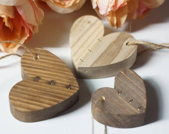 Reclaimed Wood Heart Ornaments Set, 5th Anniversary Couple Gift, Rustic Christmas