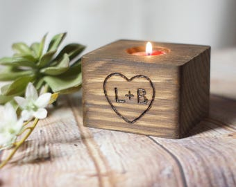 Custom Engraved Reclaimed Wood Candle Holder, Personalized Couple Gift, 5th Anniversary, Engagement Present, Bridal Shower