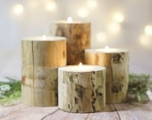 4 Log Candle Holders, Rustic Wedding Centerpiece, Wood Wooden Wedding Gift, Woodland Woodsy famhouse Table Reception Bridal Shower Gift Idea