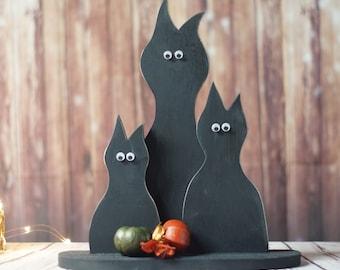 Primitive Black Cat Set, Halloween Decor, Rustic Fall Decor, Fall Porch, Halloween Table Decor, Primitive halloween, Primitive cat, wood cat