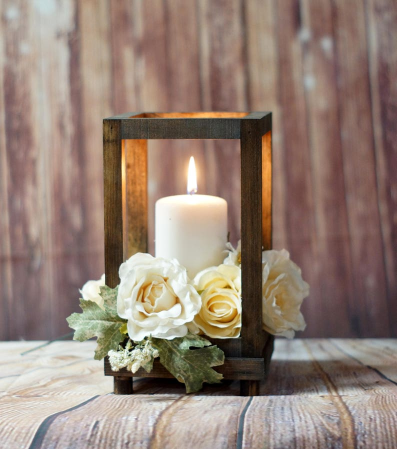 Reclaimed Wood Candle Lantern Centerpiece Rustic Wedding CHESTNUT