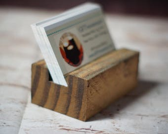 Reclaimed Wood Business Card Holder, Business Card Stand,Business Card Stand for Desk,Desk Card Holder,Business Gift, Coworker gift