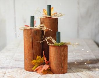 Fall Decor Porch, Wood Pumpkins, Halloween Decor, Wooden Pumpkin Decorations, Thanksgiving Table Party, Mantle Pumpkin Trio Set, Block Gift