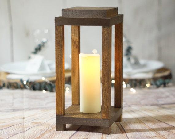 Forest Lantern Rustic Wedding Centerpiece Rustic Candle Holder Wood Candle Centerpiece For Wedding Lantern Decor Farmhouse Table Ideas