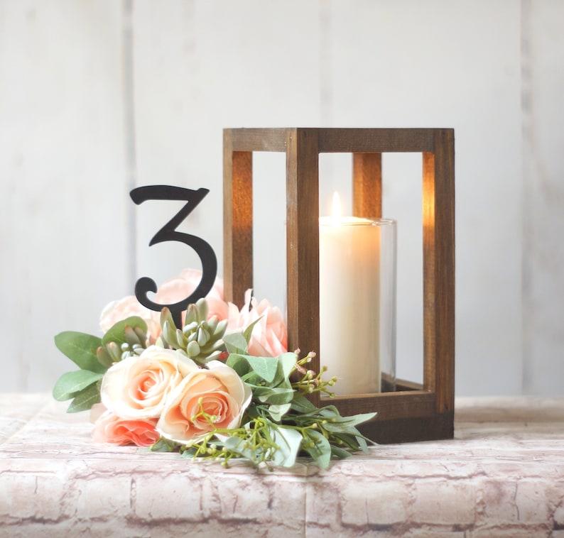 Wood Lantern Wedding Centerpiece For Tables Cylinder Pillar Etsy