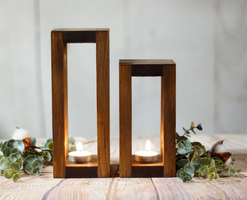 Stupendous 2 Wood Candle Lanterns Centerpiece Rustic Wedding Table Decoration Farmhouse Decor Wooden Candle Holder Country Barn Wedding Gift Download Free Architecture Designs Scobabritishbridgeorg