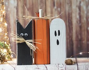 Rustic Halloween Black Cat, Pumpkin, Ghost Shelf Sitter, Primitive Halloween Decor, Rustic Reclaimed Wood, Rustic Halloween, Fall Decor