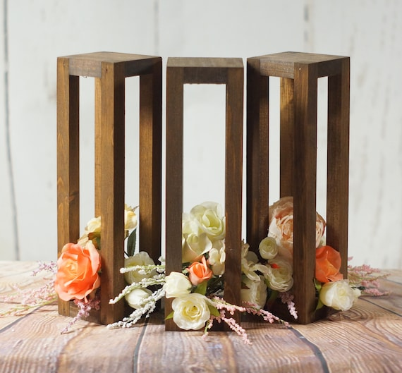 3 Rustic Wood Candle Lanterns Wedding Lantern Centerpiece | Etsy