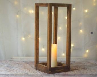 "16"" Lantern, Large Wood lantern, wedding centerpiece, table decor, home decor, lantern centerpiece, rustic wedding Country Barn wedding"