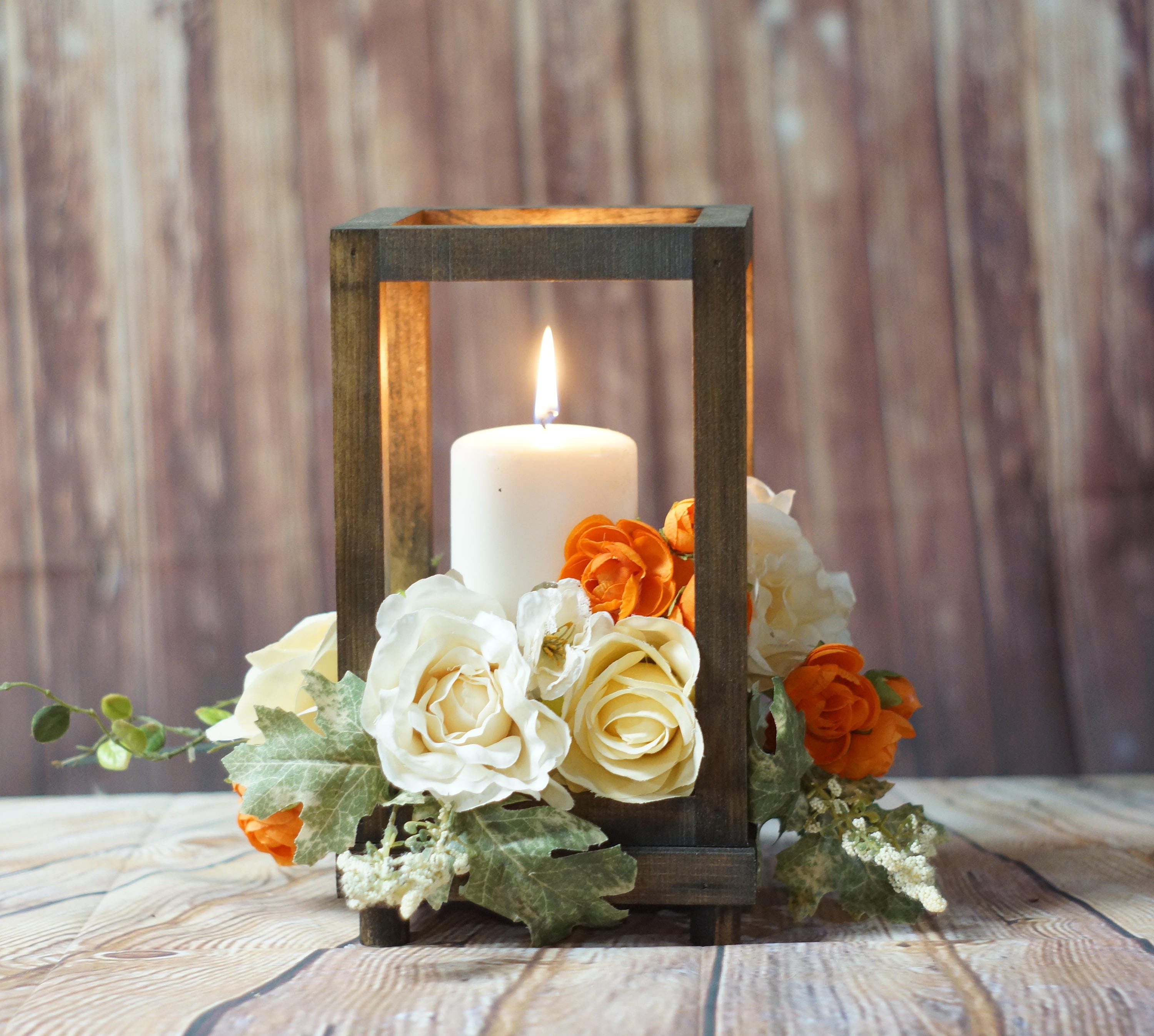 Wedding Reception Centerpieces Candles: Rustic Wood Candle Lantern Wedding Lantern Rustic Lantern