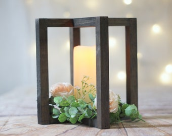 Ready to Ship, Black Wood Lantern Centerpiece, Reception Bridal Ceremony, Shower table Deocr Ideas, Farmhouse Rustic Country, Wooden Center