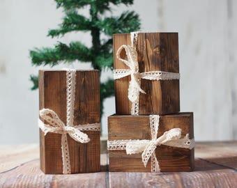 Set of 3, Wood Christmas Presents, Rustic Christmas decor, Christmas mantle decorations, Wood Present, Hostess Gift, Work Wife, Work Husband