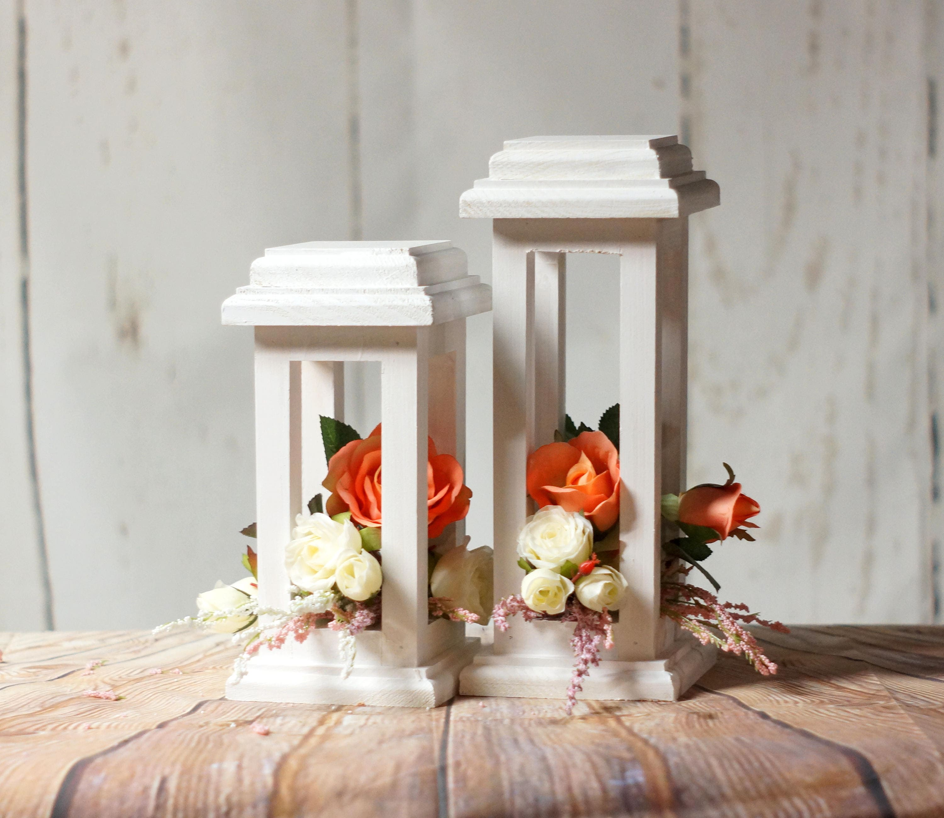 White Wedding Lantern Centerpiece Candle Lantern Wedding