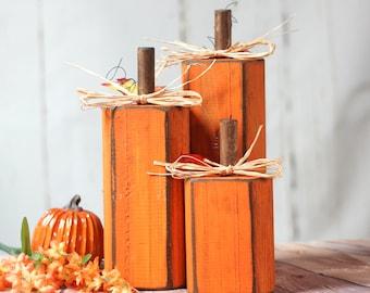 Rustic Wooden Pumpkins, Pumpkin Decor, Rustic Thanksgiving Decor, Rustic Halloween Decorations, Modern Farmhouse Halloween, Table Decor, GFT