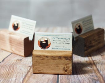 Business Card Holder, Reclaimed Wood Business Card Stand,Business Card Stand for Desk,Desk Card Holder,Business Gift, Coworker gift