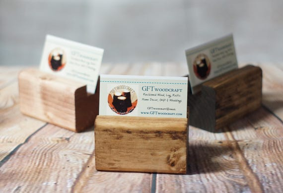 Business card holder reclaimed wood business card etsy colourmoves