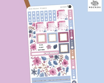Winter Flowers Hobonichi Weeks Sticker Kit / Planner Stickers