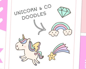 Unicorn Rainbow & Co Doodle Stickers / Planner Stickers