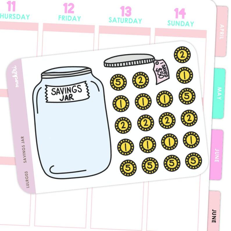 Savings Jar Stickers / Planner Stickers image 0
