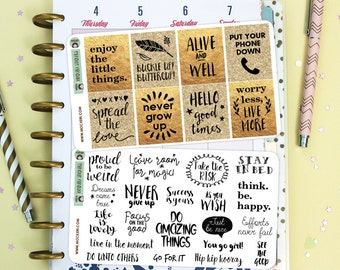 28 Motivational Quote Stickers / Decorative Full boxes / Planner Stickers