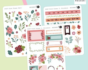 Bullet Journal Stickers - Pink Poses / Planner Stickers / Decorative Stickers