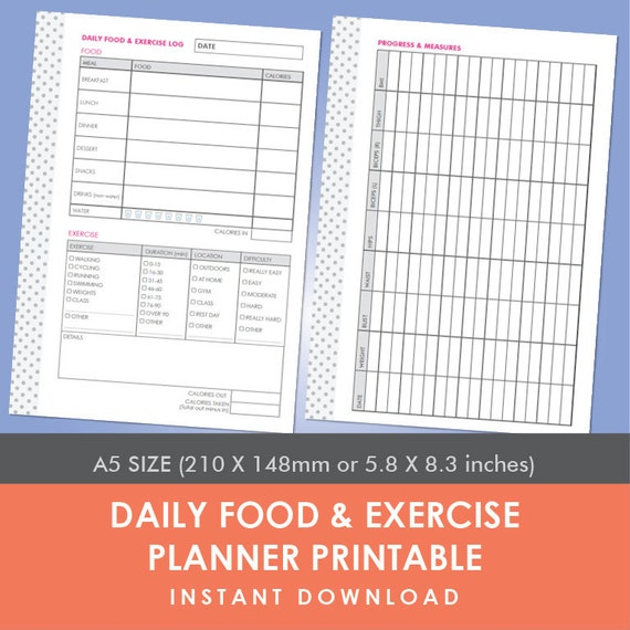 daily food exercise planner printable a5