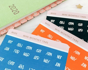 Mini Monthly Tabs / Hobonichi Weeks Monthly Tab Stickers / Planner Stickers
