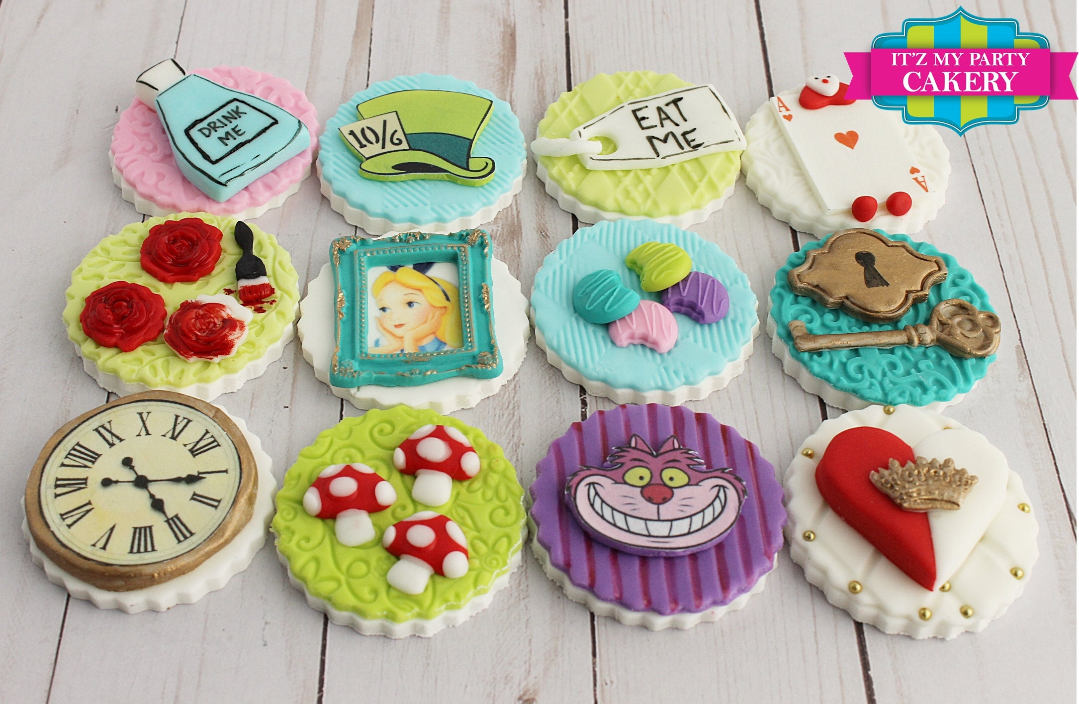 Alice In Wonderland Cupcake Toppers 1 Dozen | Etsy