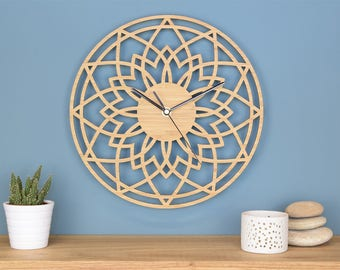 Star Wall Clock, Wooden Wall Clock, Geometric Clock, Modern Wall Clock, Living Room Clock, Scandi Style, New Home, Engagement Wedding Gift