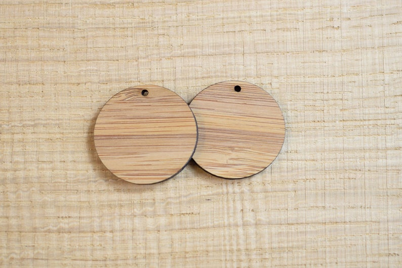 Blank Wooden Discs Drop Earring Blanks Scrapbook Decorations Craft Supplies Wooden Pendant Brooch Blanks Pyrography Blanks 2pcs