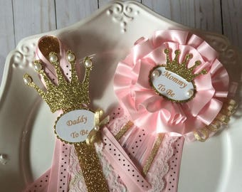 Princess's baby shower corsage /Mommy to be princess's corsage/Princess Daddy to be pin