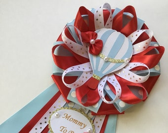 Mommy to be hot air Balloon corsage/Boy baby shower hot air balloon corsage/Red and blue hot air balloon baby shower corsage