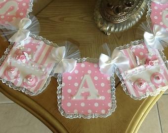 Baby girl banner/ girl baby shower banner/Handmade elegant pink and white baby shower banner/ Carriage banner