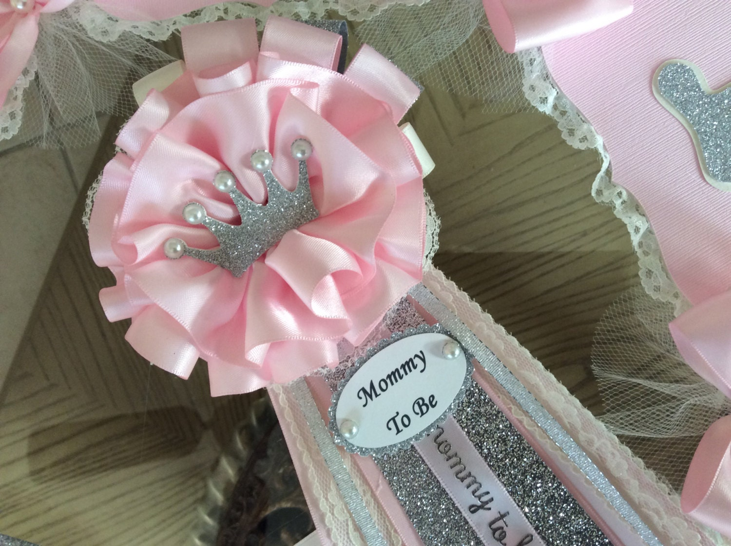 Mommy to Be Princess baby shower corsage/Pink silver and | Etsy