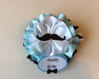 Daddy to Be corsage/Mustache themed baby shower corsage/Little man corsage