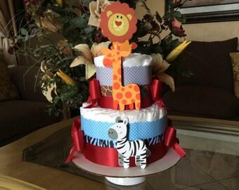 Safari diaper cake/Safari baby shower centerpiece/Gift/Baby boy diaper cake/Baby boy gift/Hospital Gift/Safari centerpiece/Boy baby shower