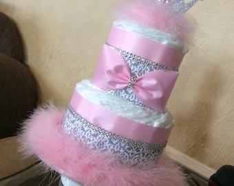 Princess diaper cake/Princess Baby shower centerpiece/Pink and grey damask Baby shower centerpiece/Baby Girl diaper cake/