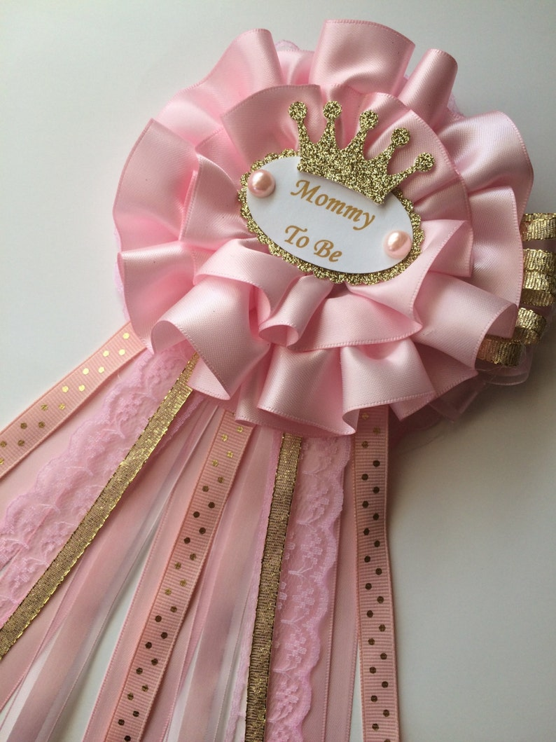 5d838a697 Pink and gold princess baby shower corsage Pink and gold