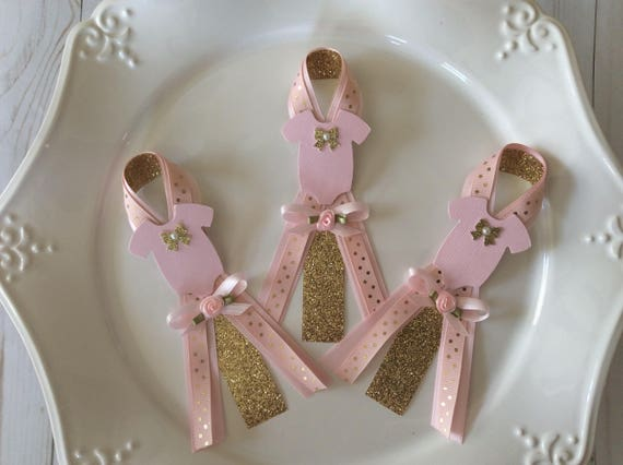 Blush Pink And Gold Girl Baby Shower Guest Pinselegant Baby Etsy