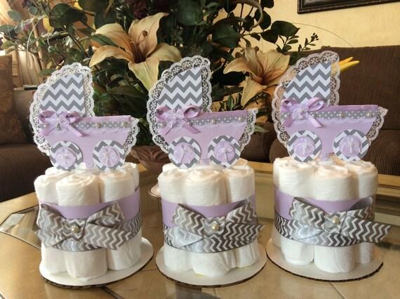 Lavender And Grey Chevron Baby Shower Centerpiecesgirl Baby Etsy