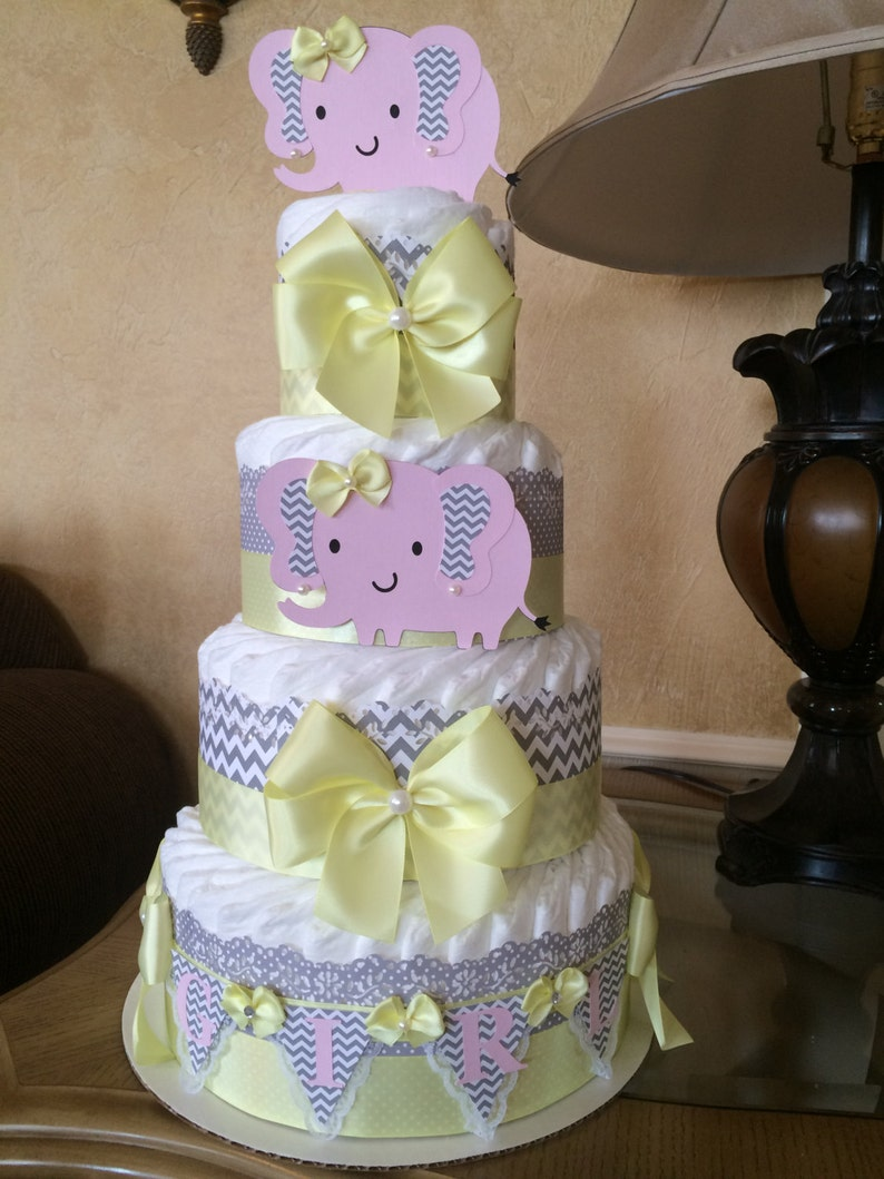 Elephant Diaper Cake Pink Grey And Yellow Elephant Baby Shower Etsy