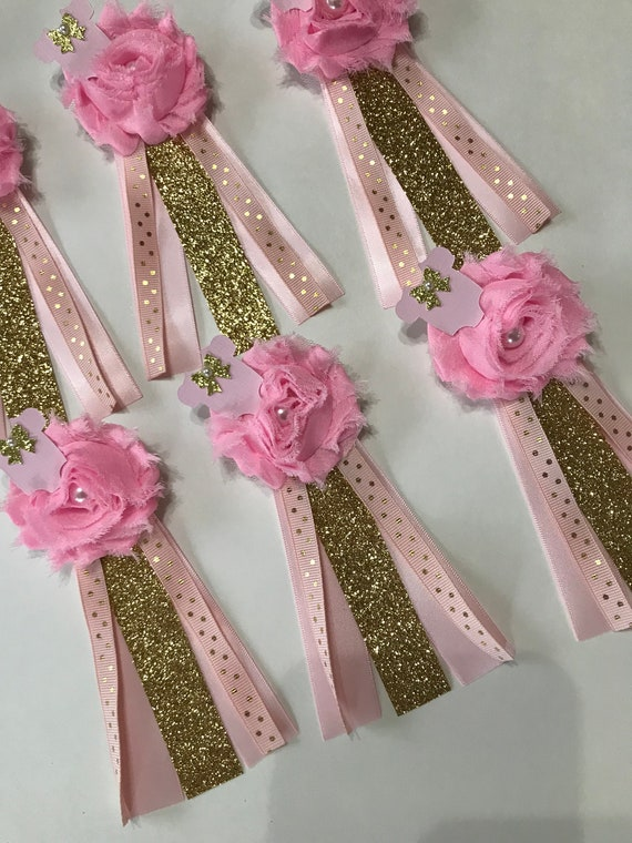 Baby Girl Baby Shower Guest Pinslight Pink And Gold Girl Baby Etsy