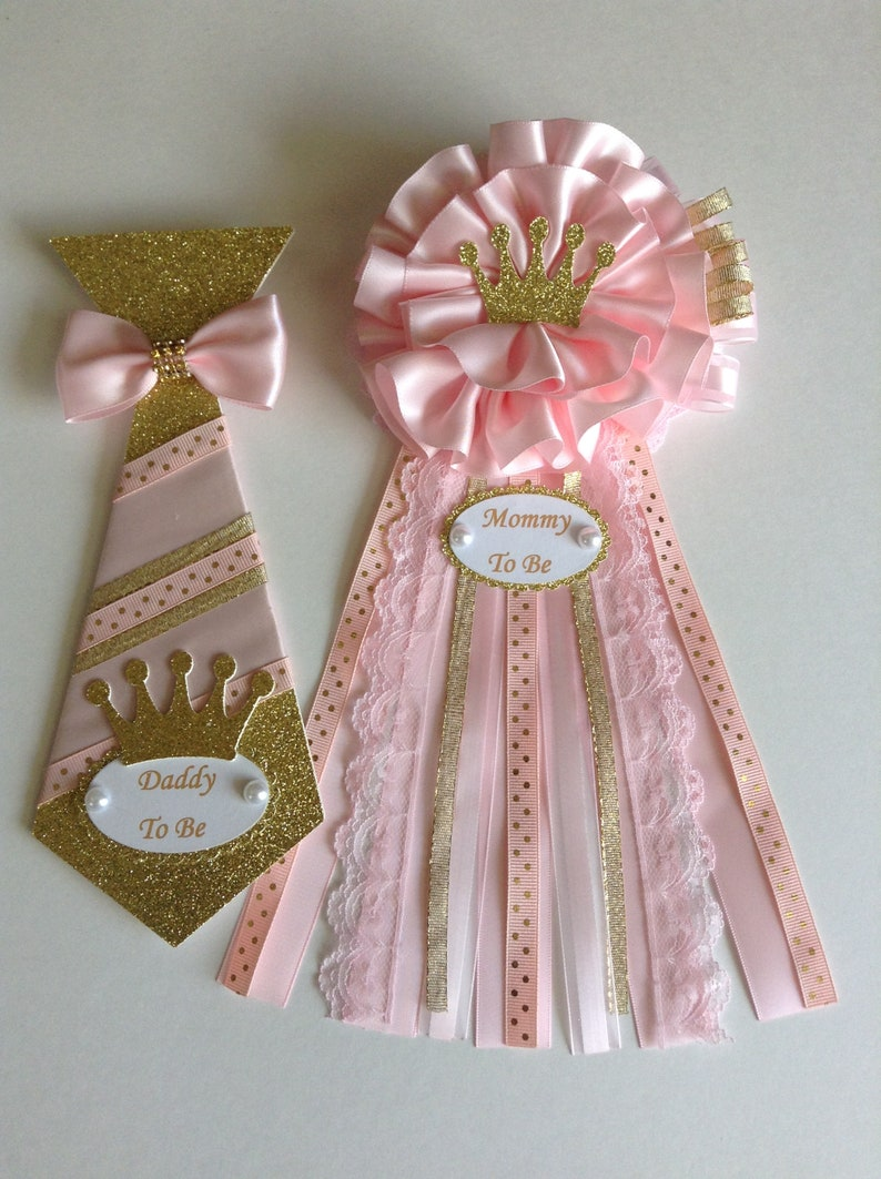 34caf964a Princess baby shower corsage set Pink and gold Mommy to be